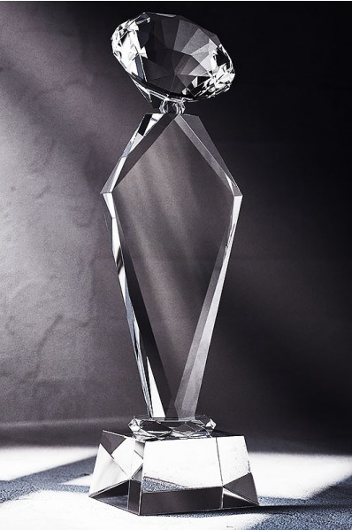 Trapezoid Crystal Slender Statuette with Diamond