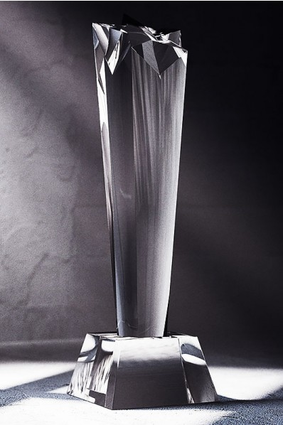 Slender Tall Crystal Statuette