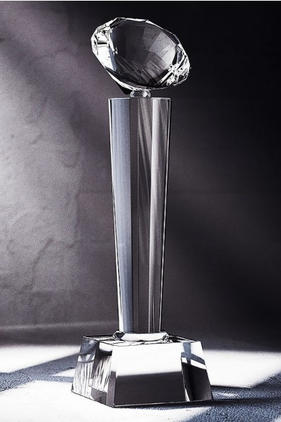 Narrow Slender Crystal Statuette with Diamond