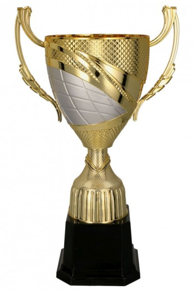 Golden silver trophy with decorations