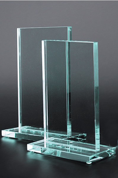 Rectangular Plaque Glass Statuette