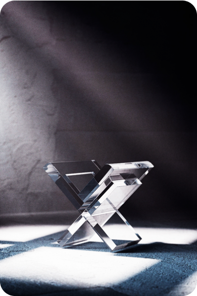 X Shaped Crystal Statuette/Trophy