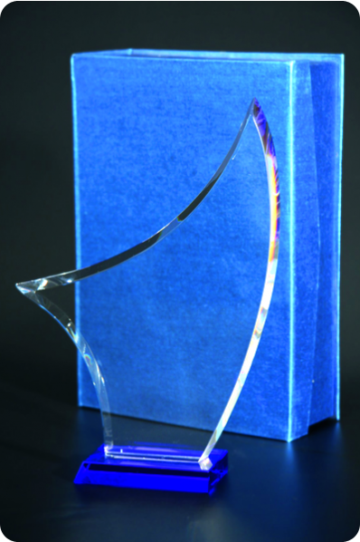 An Open Sail Crystal Plaque