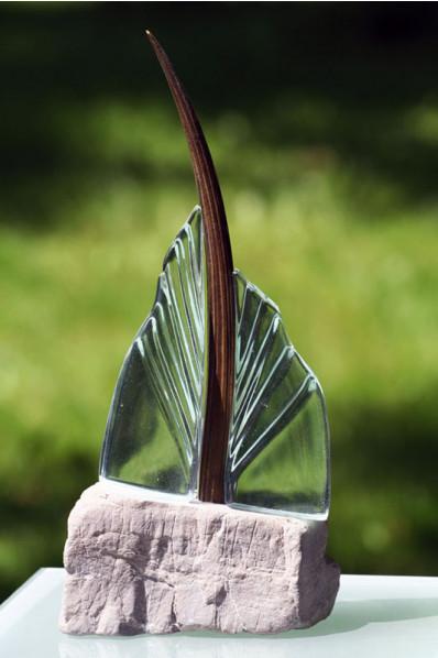 Glass Hand Fan Statuette