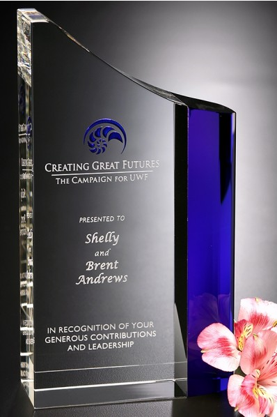 Crystal award with blue glass