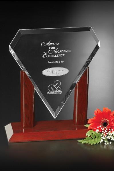 Glass diamond shaped plaque