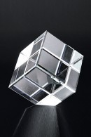 Diagonal Cube Glass Statuette
